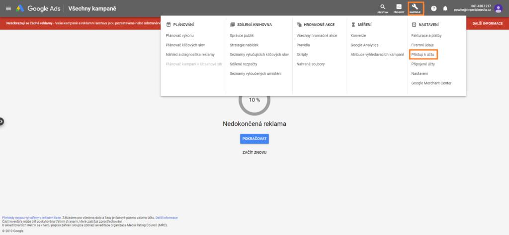 Google Ads nastavení